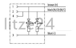 Geberkabel, M12-Buchse mit LED, Kabelbelegung