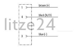 M8-Flanschbuchse 3pol., Kabelbelegung