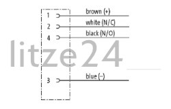 M8-Flanschbuchse 4pol., Kabelbelegung