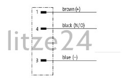 M8-Flanschstecker 3pol., Kabelbelegung