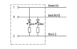 Geberkabel, M8-Buchse mit LED, Kabelbelegung